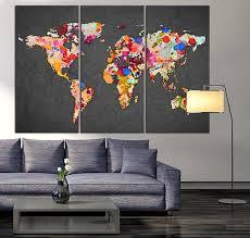 world map canvas wall art fresh design 3 piece world map canvas print on gray background