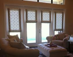 shades for front doorInterior Roll Up Roman Shades On White Frame Patio Door Combined