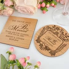 Wedding Coasters Engraved Wedding Wooden Coasters Wedding Placecard Wooden