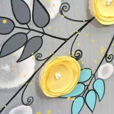 gray and yellow wall art painting of flowers on canvas large throughout recent large yellow