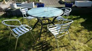 glasetal patio table 4 aluminium stacking chairs