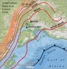 the quake struck near a downward bend in the pacific plate possibly producing local tension in an otherwise pressive setting source slab2 0 usgs