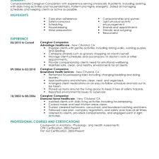 Caregiver For Elderly Resume Elderly Caregiver Resume No Experience