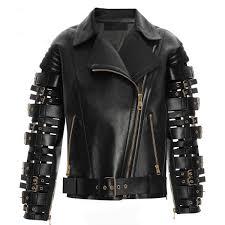 regular fit sliced black belted leather jacket