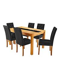 oakham glass panel oak veneer large rectangular dining table and 6 grace chairs