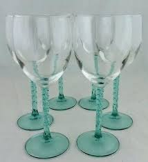 turquoise wine glass blown glasses blue