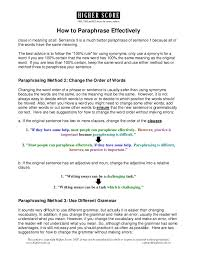 how to paraphrase effectively  2