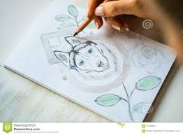 Close Up Is Painting With Pencils Husky On A White Sheet In A Cafe