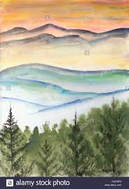 winter snow landscape watercolor painting modern abstract art paintings mountain mountains