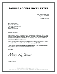 Employment Acceptance Letter Offer Confirmation Letter Format Job Acceptance Cooperative