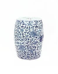 blue and white garden stool with climbing vine white garden stool98