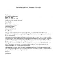 Cover Letter Sample For Receptionist Examples Hotel Reception Fresh