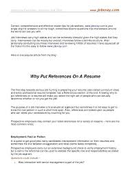 How To Put References On Resume Do Not Put References On Resume