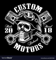 Design Skull T Shirt Biker Skull With Crossed Pistons T Shirt Design