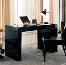 elegant sleek black modern office desk design idea for home office