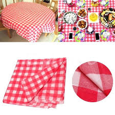 red gingham tablecloth table cloth plastic disposable