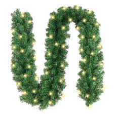 Battery Operated Lighted Garland Christmas Garland With 40 Led Lights Battery Powered Waterproof String Light With Timer Pre Lit Outdoor Xmas Garland 10 Foot By 10 Inch