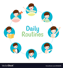 Daily Routine Chart Daily Routines Of Boy On Circle Chart