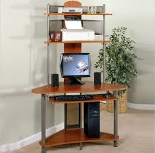 Furniture: Small Arch Tower Wooden Computer Desk With Metal Legs Featuring  Open Shelves - Small