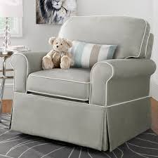 image of gray upholstered rocking chair for nursery