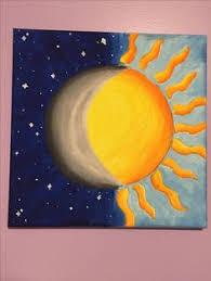 Half sun half moon painting idea!