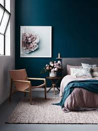 dark blue bedroom walls. Gorgeous Dark Blue Walls And Blush Accents Bedroom