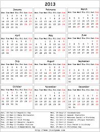 printable year calendar 2013 calendar 2013 printable calendar with holiday list calendar 2013