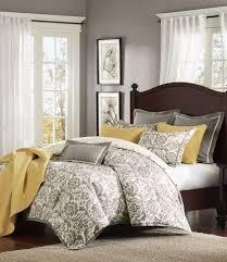 Elegant Gray Master Bedroom Decorating Ideas   Rhoades Grey Damask Comforter  Set