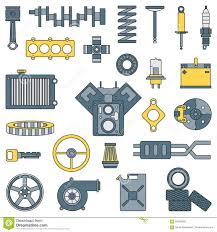 Combustion Engine Design Line Flat Color Vector Icon Car Parts Set With Undercarriage