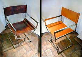 folding chair in amber leather and chrome before and after