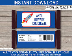 Space Hershey Candy Bar Wrappers Personalized Chocolate Bars