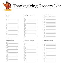 Thanksgiving Grocery List Template Thanksgiving Shopping List Organizer Get Organized Before
