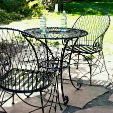 piece black metal patio furniture bistro set with round table armchairs aribs