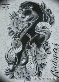 черно белый эскиз тату с черной пантерой 11032019 016 Tattoo