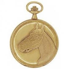 vintage antique 41mm gold plated horse swiss quartz pocket watch
