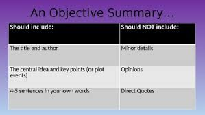 How To Write A Objective How To Write An Objective Summary Ppt And Stations