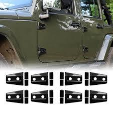 iparts 8 pcs black door hinge cover for 4 door jeep wrangler jk jku unlimited