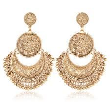 <b>Vintage Ethnic</b> Tassel Pendant <b>Flower</b> Moon Drop Dangle <b>Earrings</b> ...