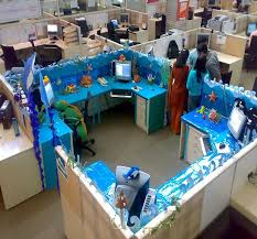 office cubicle decoration themes. Fine Decoration Cubicle Decoration Themes With Blue Colors And Computer Office  Chair For