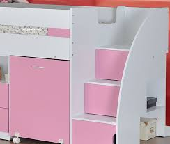 white and pink mid sleeper bed with staircase storage pink mid sleeper cabin bed with storage steps