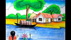 art images of nature.  Nature Riverside Scenery Landscape For Beginners Village Drawing Nature  Art Drawing By Indrajit Throughout Art Images Of Nature T