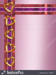 Illustration Of Valentine Gold Hearts Border