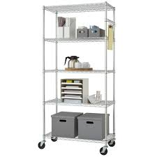 rolling 5 tier kitchen rack 72in tall chrome utility cart storage wire shelf new
