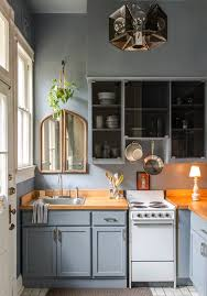 lighting for small kitchens. Grey Kitchen Cabinets With Wall And Mirror Also Hanging Plant Industrial Pendant Lighting Wood Countertops Plus Table Lamp For Small Kitchens A