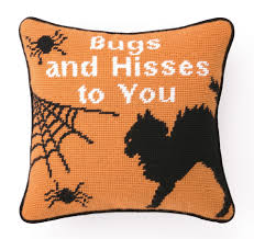 accent pillows bugs and hisses needlepoint pillow