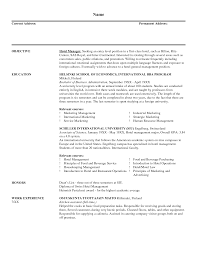 Catering Manager Resume Uncategorized Attractive Objective And