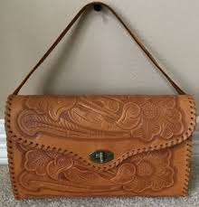 details about vintage mexican hand tooled leather bag purse boho hippie peasant southwestern