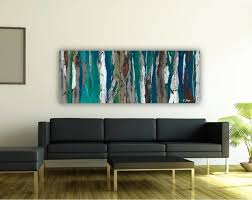 Contemporary Modern Artwork in Living Room Dining Room Entry Blue Dark Teal  contemporary-living-