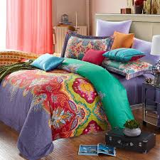 teal blue red yellow and purple baroque style traditional indian tribal print bright colorful full size bedding sets