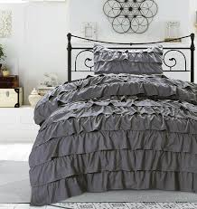 com modern romance ruffle waterfall duvet cover bedding set french vintage style girls teen ruffled microfiber 2 piece set graphite gray or burdy
